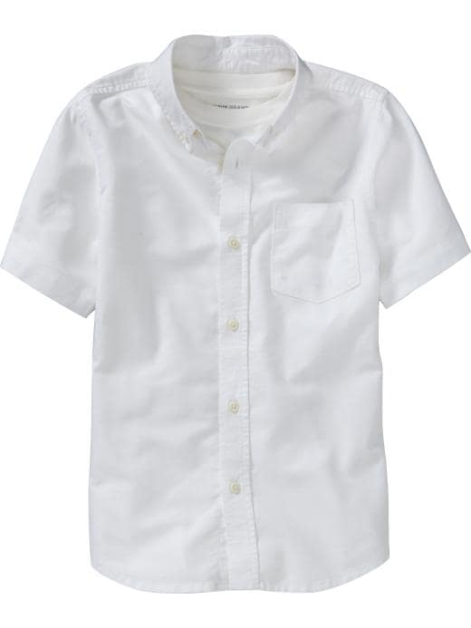 Old Navy Boys Short-Sleeve Oxford Shirts - White - Old Navy Canada
