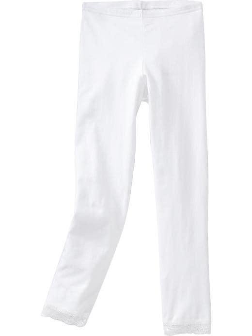 Old Navy Girls Lace-Trim Leggings - Bright white