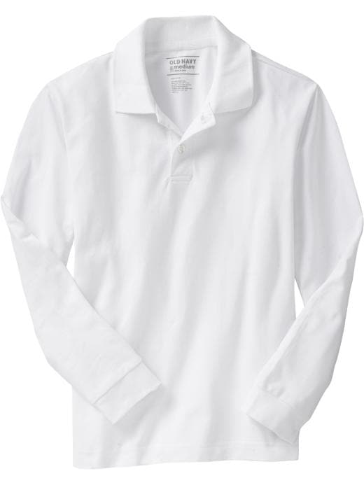 Old Navy Boys Long-Sleeve Pique Polos - Bright white - Old Navy Canada