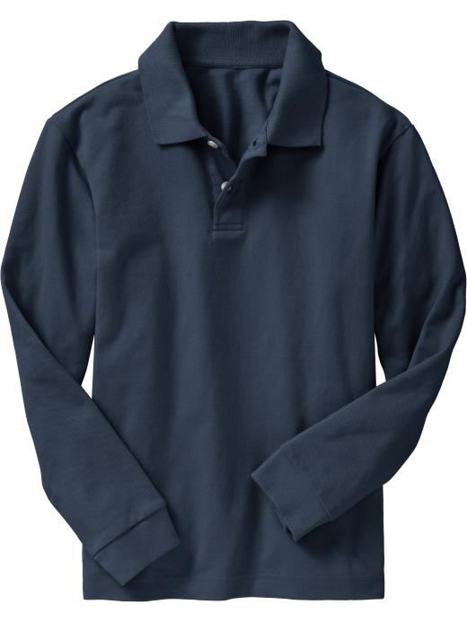 Old Navy Boys Long-Sleeve Pique Polos - Ink blue - Old Navy Canada