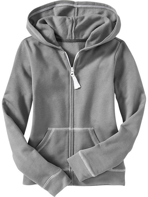 Old Navy Girls Zip Front Fleece Hoodies - Medium gray heather