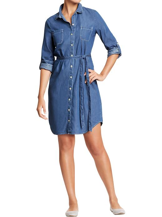 Old Navy Women S Chambray Belted Shirt Dresses Quadeo