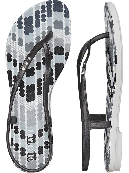 Old Navy Women's Embellished Flip Flop Sandals - Black / gray