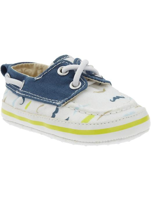 Old Navy Mustache Print Soft Sole Boat Shoes For Baby
