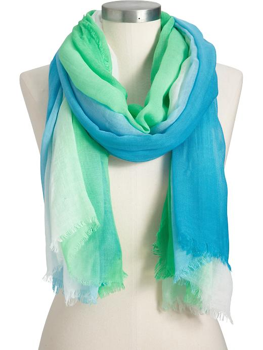 Old Navy Women's Lightweight Ombre Fringe Scarves - Green ombre