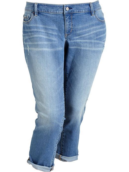 Old Navy Women's Plus Slim Boyfriend Jeans - Destructed wash - Old Navy Canada