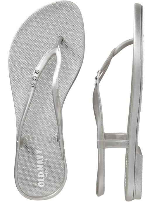 Old Navy Women's Embellished Flip Flop Sandals - Silver