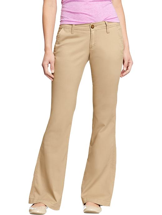 Old Navy Women's The Diva Super Flare Khakis - Rolled oats
