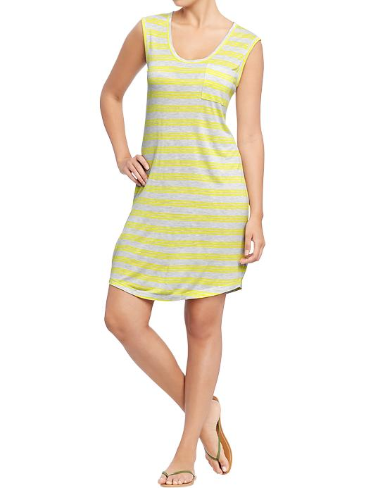 Old Navy Women's Sleeveless Pocket Tee Dresses - Yellow stripe combo c