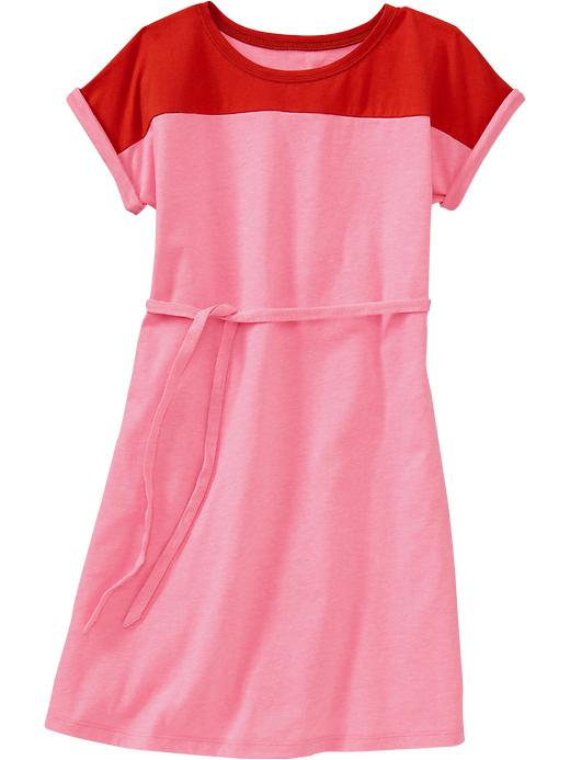Old Navy Girls Color Blocked Jersey Dresses - Color block warm