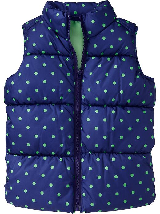 Old Navy Girls Frost Free Quilted Vests - Green dots - Old Navy Canada