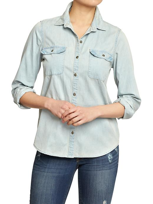 Old Navy Women's Denim Shirts - Light denim