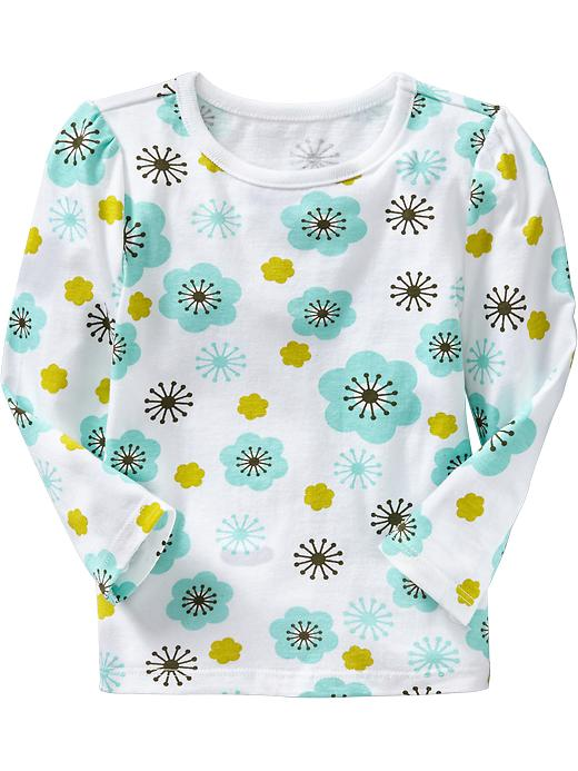 Old Navy Printed Long Sleeve Tees For Baby - Tumbling teal floral