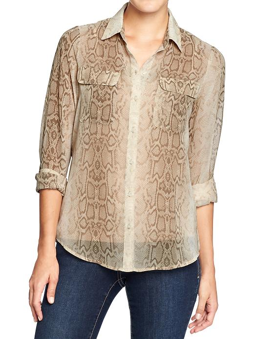 Old Navy Women's Printed Chiffon Shirts - Tan snake - Old Navy Canada