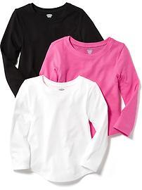 Paquet de trois t-shirts à manches longues pour toute-petite fille