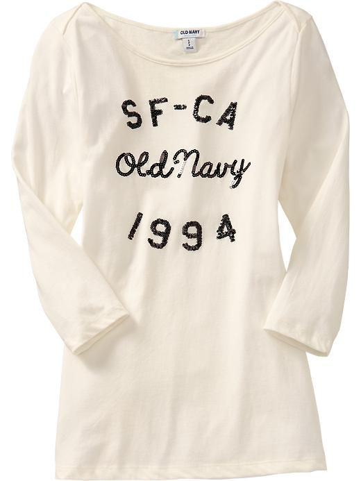 Old Navy Women's Long Sleeve Sequined Tees - Sea salt - Old Navy Canada