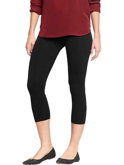 8f282c3cfd25a UPC 188532100006 product image for Old Navy Women's Cropped Jersey Leggings  - Black jack | upcitemdb