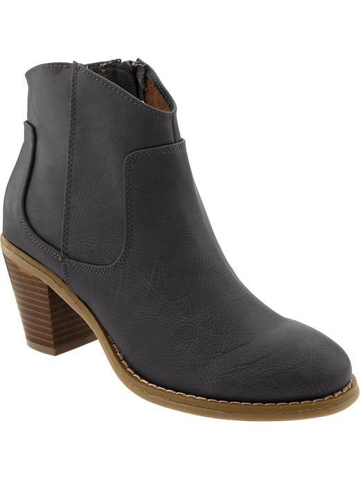 Old Navy Women's Textured Short Zip Boots - Grey - Old Navy Canada