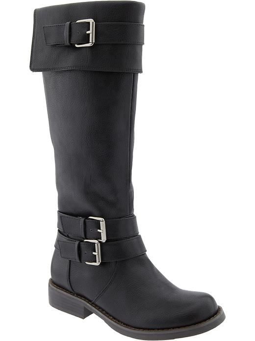 Old Navy Women's Tall Faux Leather Riding Boots - Black - Old Navy Canada