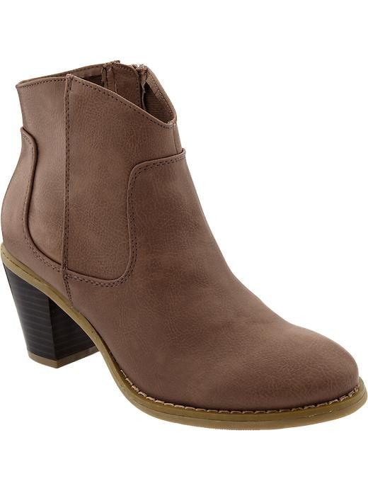 Old Navy Women's Textured Short Zip Boots - Dark brown - Old Navy Canada