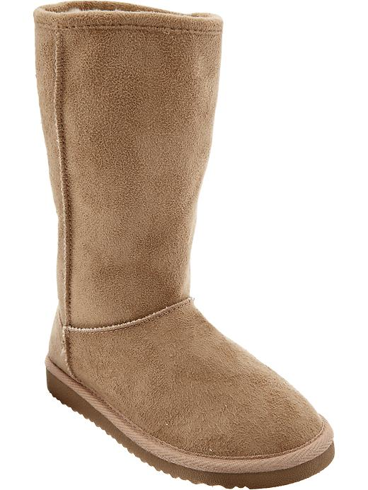 Old Navy Girls Sueded Faux Fur Lined Boots - Tan - Old Navy Canada