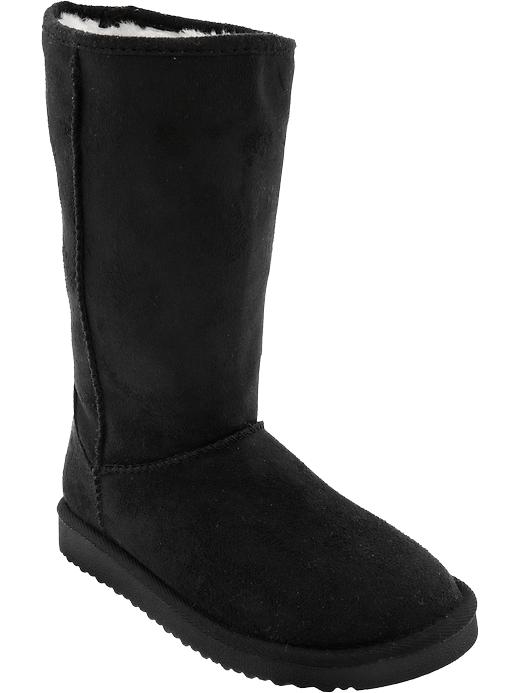 Old Navy Girls Sueded Faux Fur Lined Boots - New black - Old Navy Canada