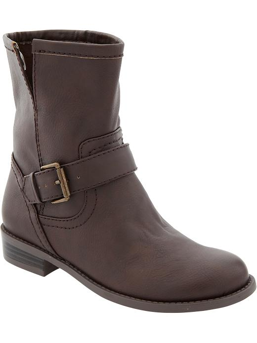 Old Navy Women's Faux Leather Ankle Boots - Brown - Old Navy Canada