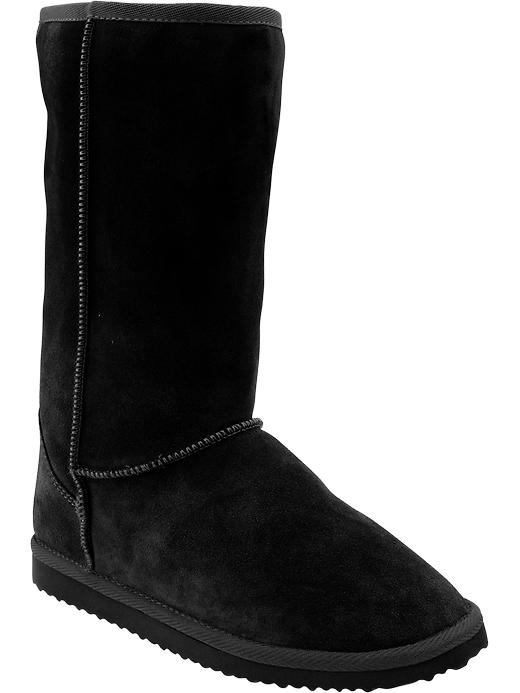 Old Navy Women's Cozy Suede Sherpa Boots - Black - Old Navy Canada