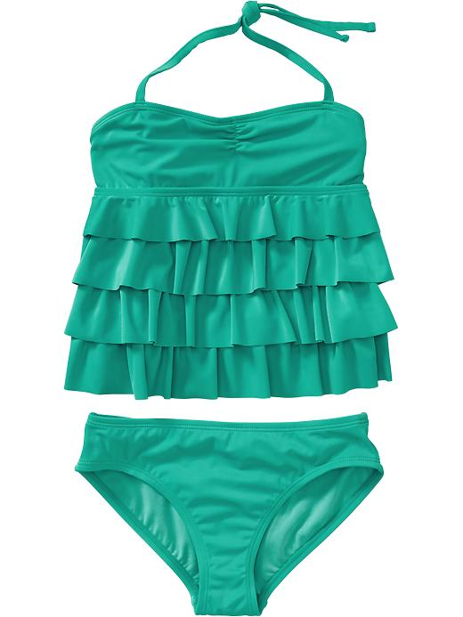 Old Navy Girls Ruffle Tiered Halter Tankinis - Teal squeal - Old Navy Canada