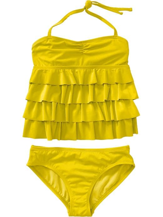 Old Navy Girls Ruffle Tiered Halter Tankinis - Sassy sunshine - Old Navy Canada