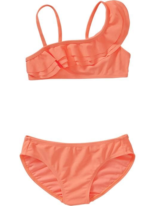 Old Navy Girls One Shoulder Bikinis - Electric cantaloupe 2 - Old Navy Canada