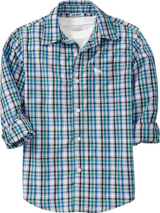 Old Navy Boys Plaid Shirts - Cloud cover