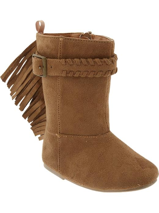 Old Navy Sueded Fringe Boots For Baby - Camel - Old Navy Canada