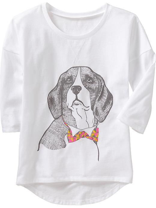 Old Navy Girls Accessorized Animal Graphic Tees - Dog face