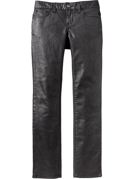 Old Navy Girls Black Coated Skinny Jeans - Black coated