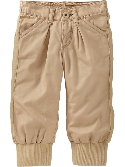 Old Navy Jersey Lined Twill Pants For Baby - Rolled oats
