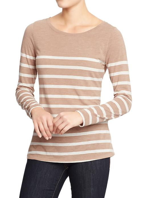 Old Navy Women's Textured Jersey Tops - Neutral stripe