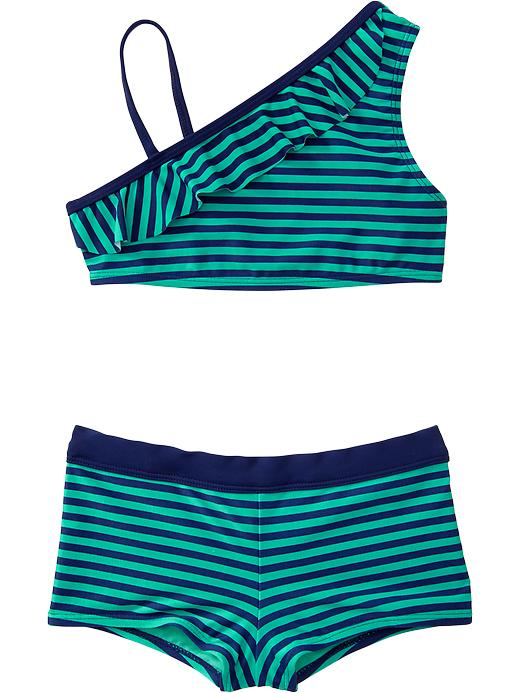 Old Navy Girls Striped One Shoulder Boy Short Bikinis - Teal squeal - Old Navy Canada