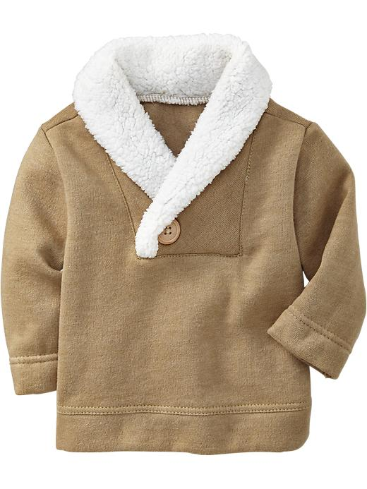 Old Navy Shawl Collar Fleece Pullovers For Baby - Brown heather