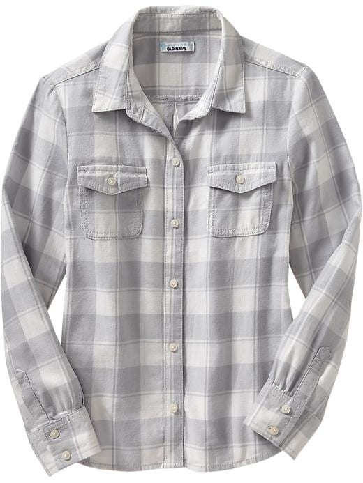 Old Navy Girls Buffalo Plaid Twill Shirts - White/grey plaid - Old Navy Canada