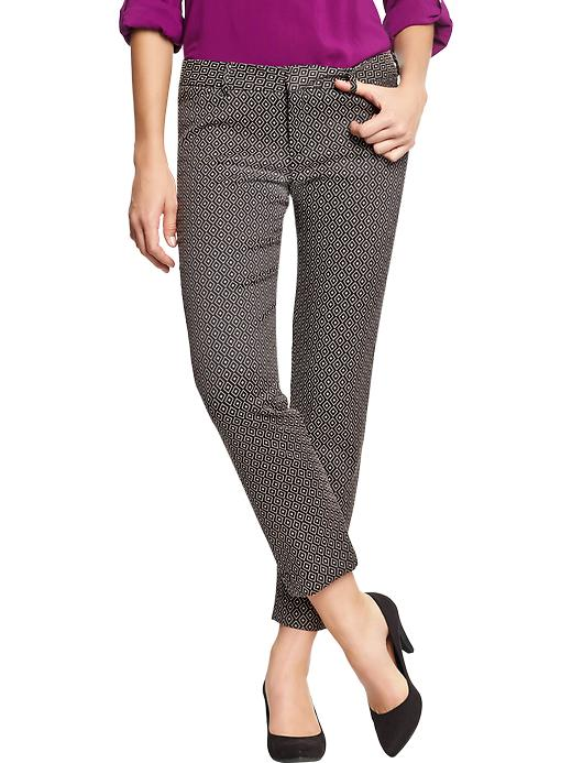 Old Navy Women's The Diva Jacquard Ankle Pants - Black diamond - Old Navy Canada