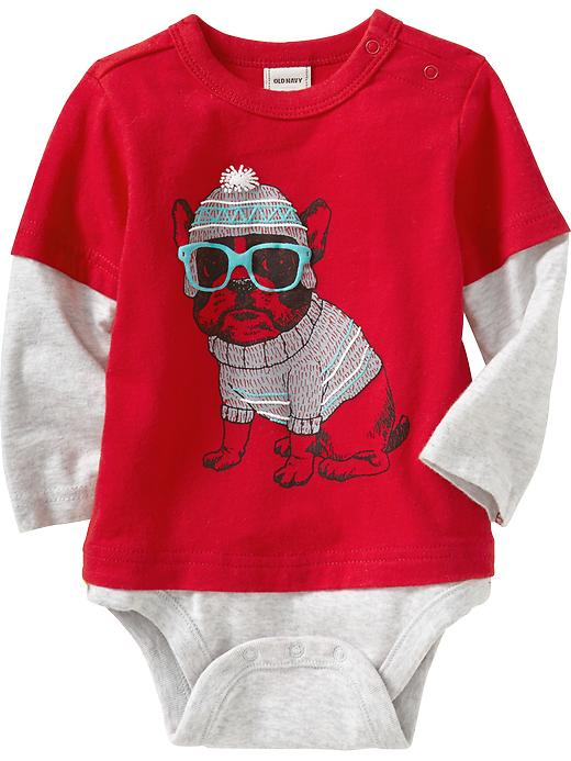 Old Navy 2 In 1 Graphic Bodysuits For Baby - Robbie red