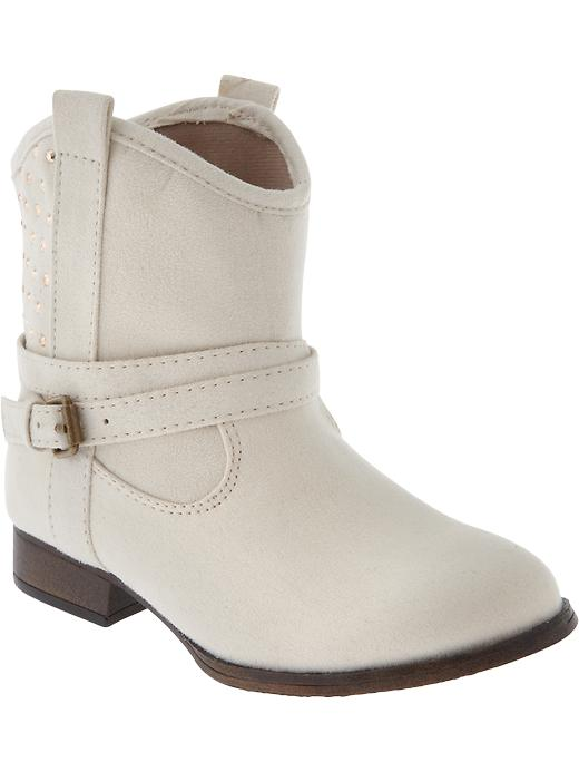 Old Navy Girls Studded Western Style Boots - Off white - Old Navy Canada