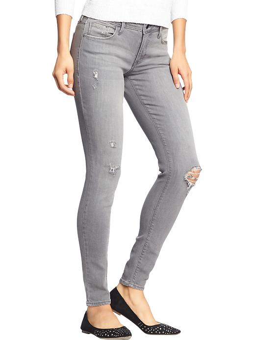 Old Navy Women's The Rockstar Mid Rise Distressed Jeans - Destructed gray