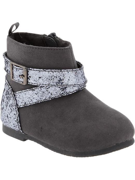 Old Navy Sueded Glitter Trim Boots For Baby - Dark gray - Old Navy Canada