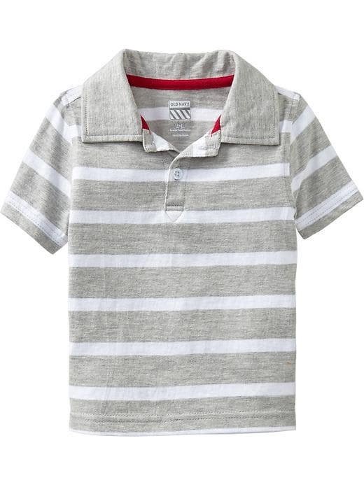 Old Navy Striped Jersey Polos For Baby - Heather gray