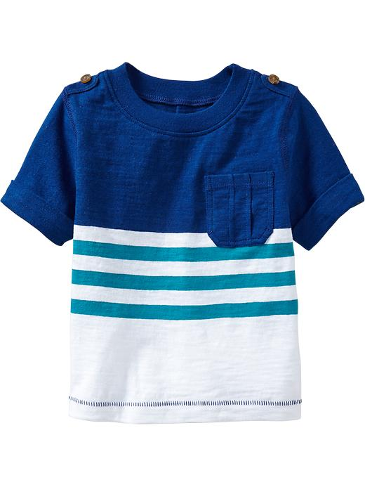 Old Navy Striped Roll Cuff Tees For Baby - Blue it off