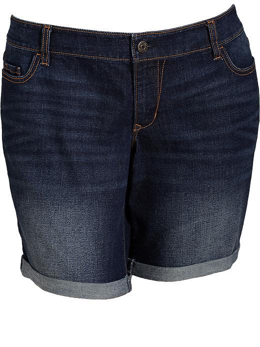 "Old Navy Women's Plus Roll Cuffed Denim Shorts (9"") - Dark wash"