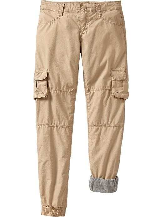 Old Navy Girls Jersey Lined Skinny Cargos - Rolled oats