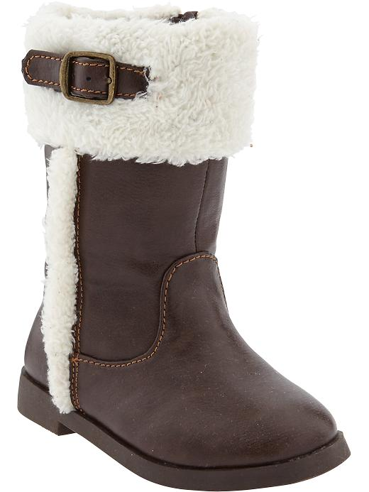 Old Navy Faux Leather Sherpa Trim Boots For Baby - Chocolate cake - Old Navy Canada
